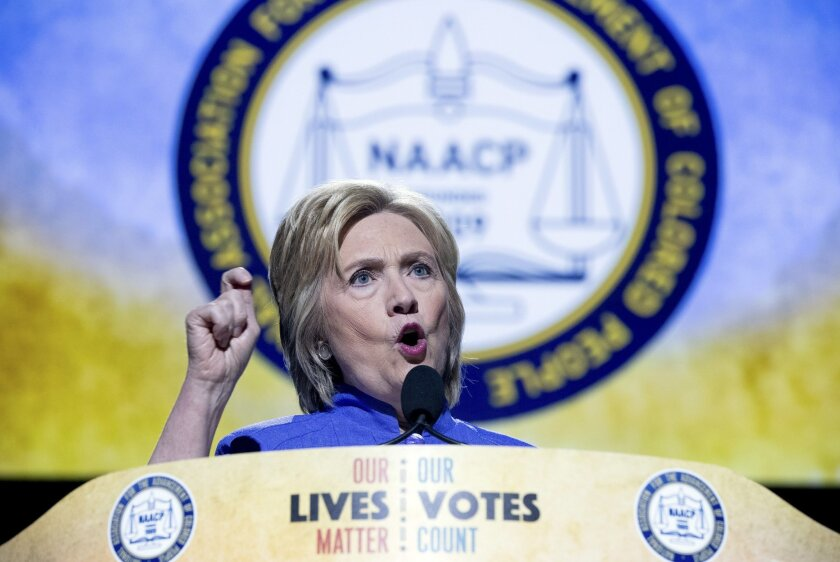 Democratic presidential candidate Hillary Clinton speaks at the 107th National Association for the Advancement of Colored People annual convention at the Duke Energy Convention Center in Cincinatti, Monday, July 18, 2016. (AP Photo/Andrew Harnik)
