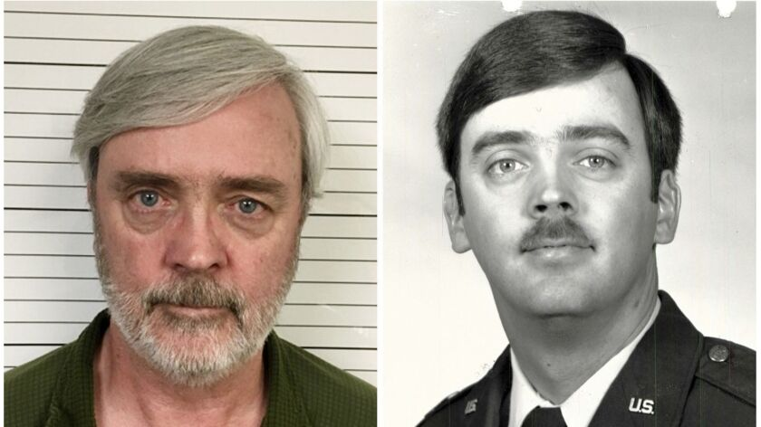 This combination of photos provided by the U.S. Air Force Office of Special Investigations shows William Howard Hughes Jr. after his arrest in June, left, and during his time in the Air Force.