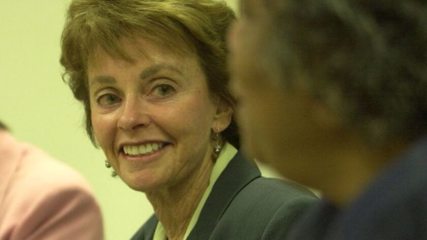 Sue Braun, a board member of the San Diego Child Care Advisory Board, meeting with other board members in October, 2003.