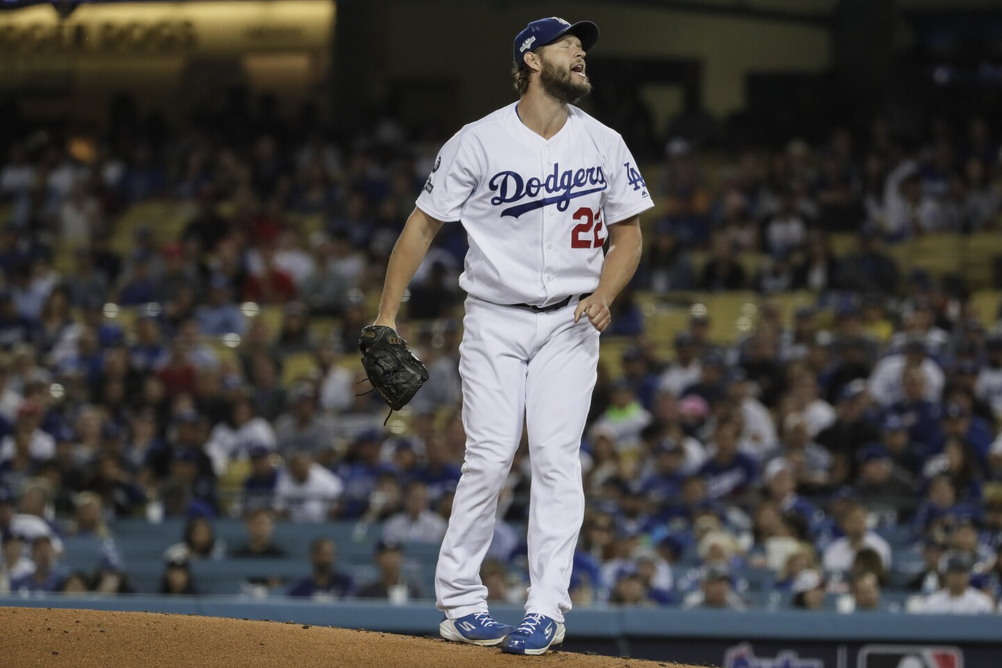 LOS ANGELES, CA, FRIDAY, OCTOBER 4, 2019 - Los Angeles Dodgers starting pitcher Clayton Kershaw (22) grimaces after hitting Nationals hitter Juan Soto in the first inning in game two of the National League Division Series at Dodger Stadium. (Robert Gauthier/Los Angeles Times)