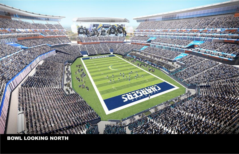A north-facing perspective illustrates the seating bowl, the slits opening up to vistas beyond and the steep upper levels meant to bring fans closer to the playing field that currently at Qualcomm Stadium.