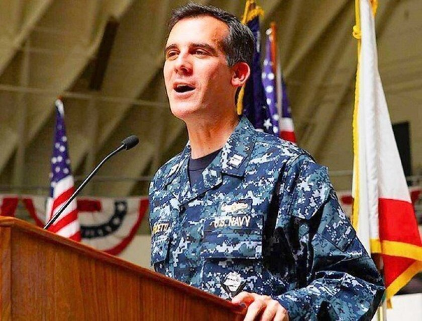 Garcetti has a side commitment: the U.S. Naval Reserve