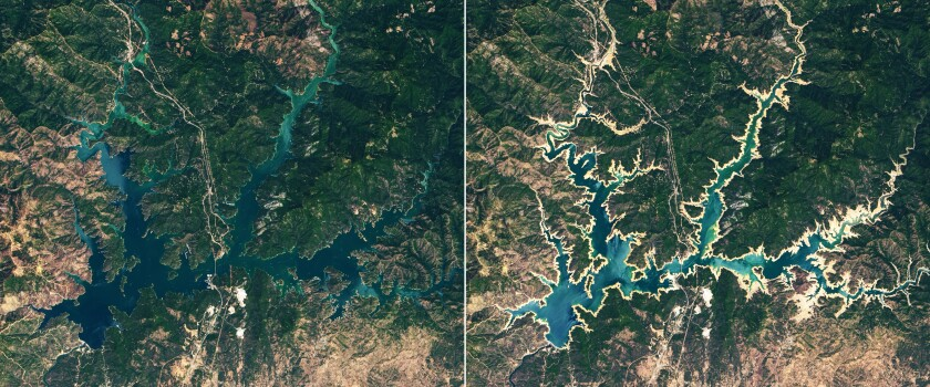 Shasta Lake in 2019, left, and 2021
