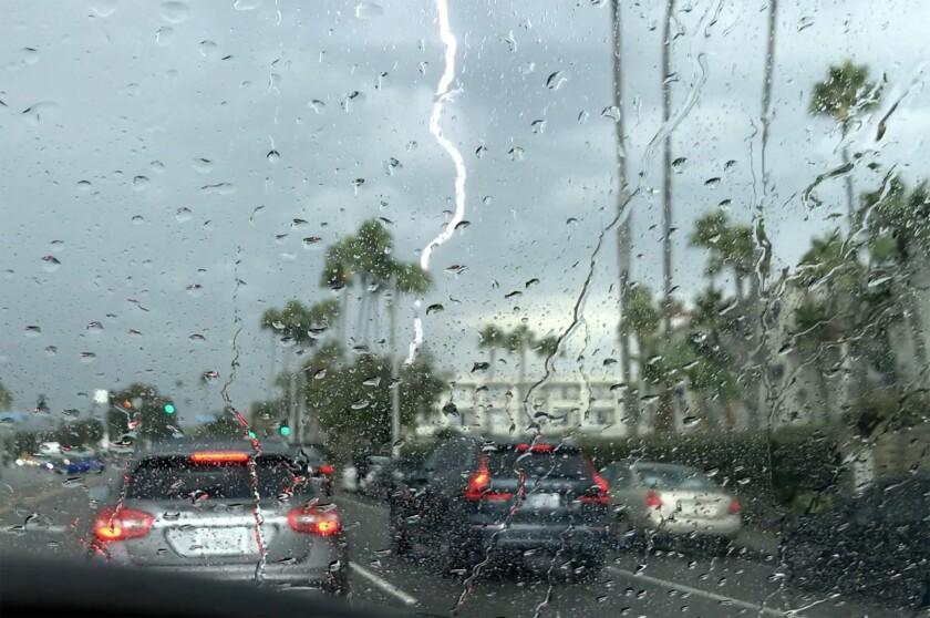 Lightning strikes over Newport Beach on Friday, Sept. 24.