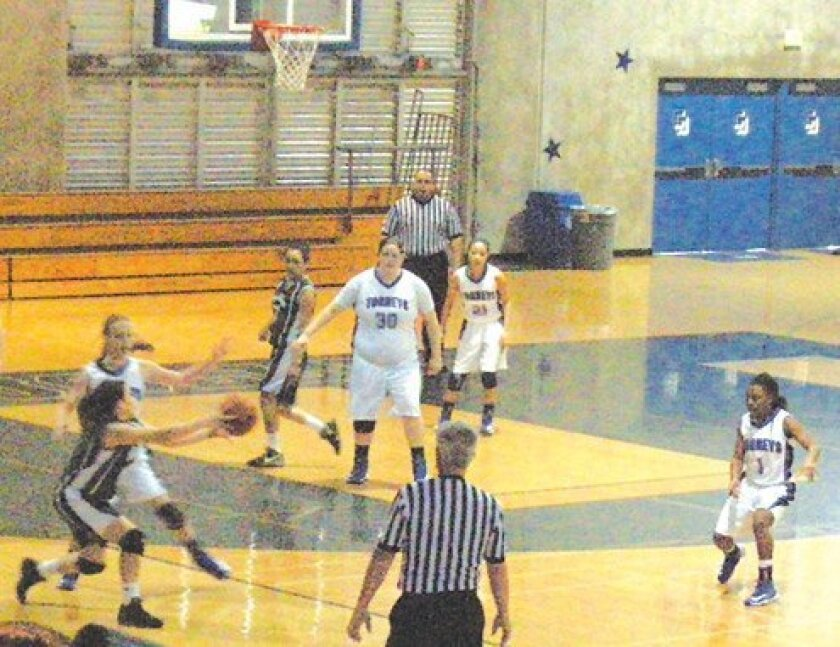 La Jolla Country Day School's girls varsity basketball team defeat the Holtville High School Vikings 97-10 at a home game on Feb. 23. The Country Day Torreys possess a 15-11 record. (Photo by Michael Ragovin)