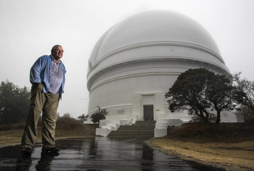 Steven Flanders outside the Hale telescope's Art Deco dome.