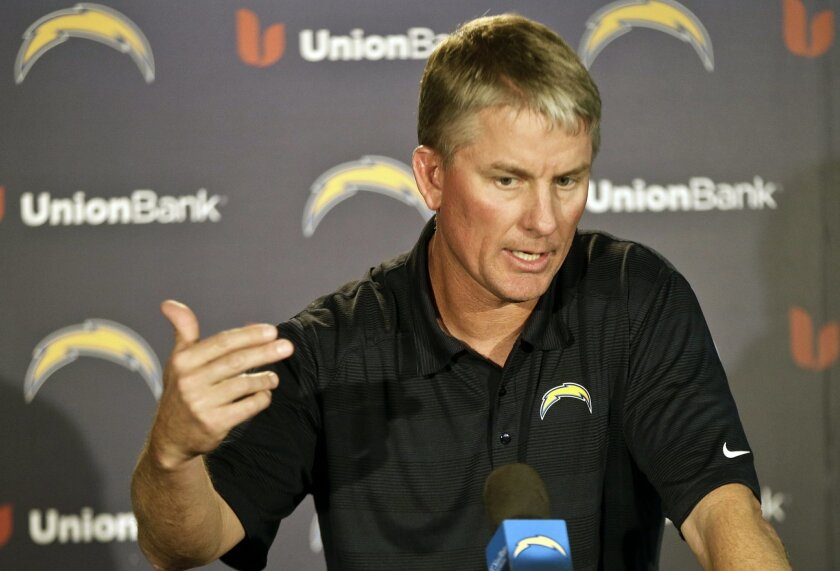 San Diego Chargers coach Mike McCoy talks about the teams' upset playoff victory over the Cincinnati Bengals and upcoming NFL football game against the Denver Broncos at a news conference Monday, Jan. 6, 2014, in San Diego. (AP Photo/Lenny Ignelzi)