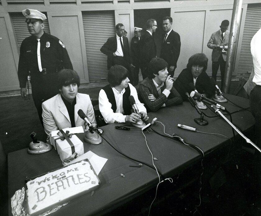 The Beatles are shown at San Diego's Balboa Stadium on Aug. 28, 1965.