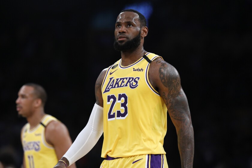 LeBron James in the Lakers' game Friday against the Milwaukee Bucks at Staples Center.
