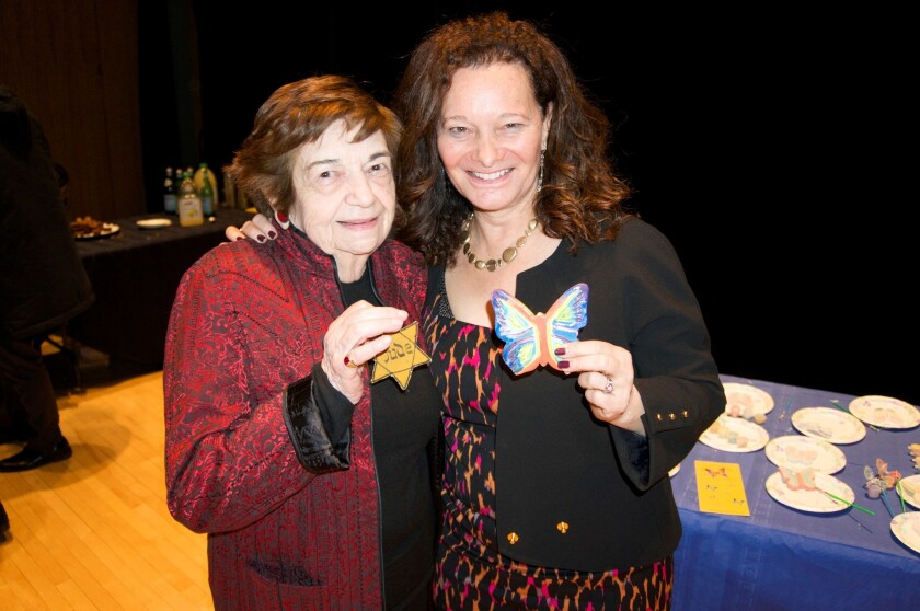 "Terezin survivor Ela Weissberger and ""Not the Last Butterfly"" filmmaker and co-founder of The Butterfly Project Cheryl Rattner Price."