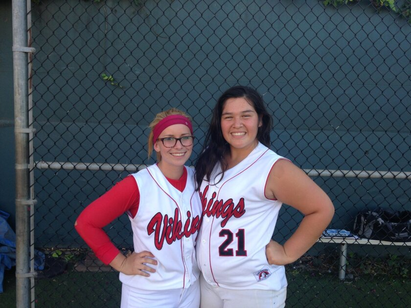 LA Jolla High school seniors Katja Sarain and Stephanie Alvarez are co-captains of a talented softball team that hopes to surprise opponents this season. The Vikings are undefeated against Western league opponents so far.