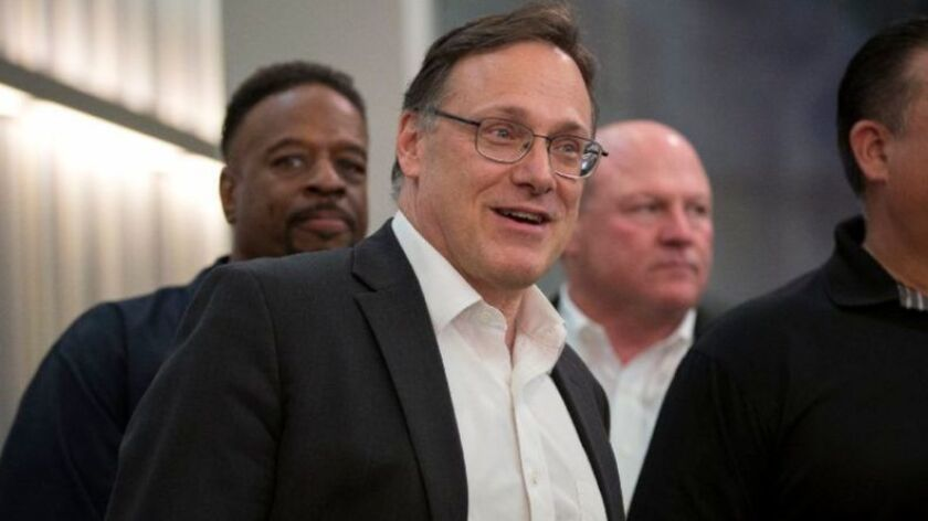 Edwin Eisendrath, then Sun-Times Media CEO, speaks at a July 17, 2017, news conference in Chicago. Eisendrath, a former Chicago alderman, announced his resignation Oct. 31, 2018.