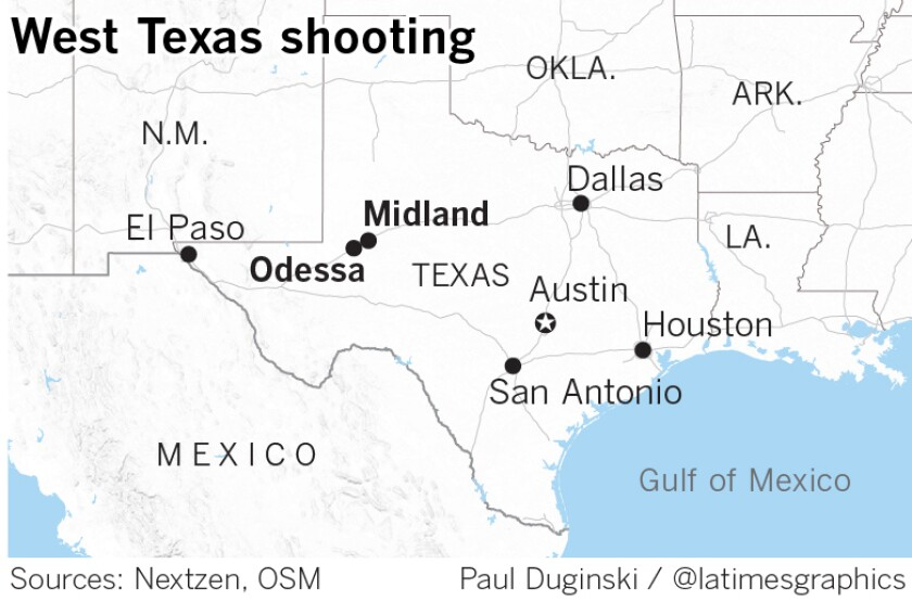 Map of Midland and Odessa, where shooting rampage occurred