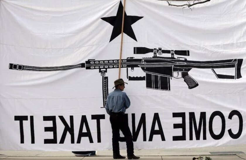 Austin Ehlinger helps hold a banner during a Guns Across America rally in Austin, Texas. Also Saturday, five people in three states were wounded in gun accidents.
