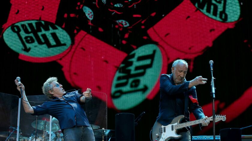 INDIO, CALIF. - OCT. 16, 2016. Roger Daltrey and Pete Townshend of The Who open with their early hi