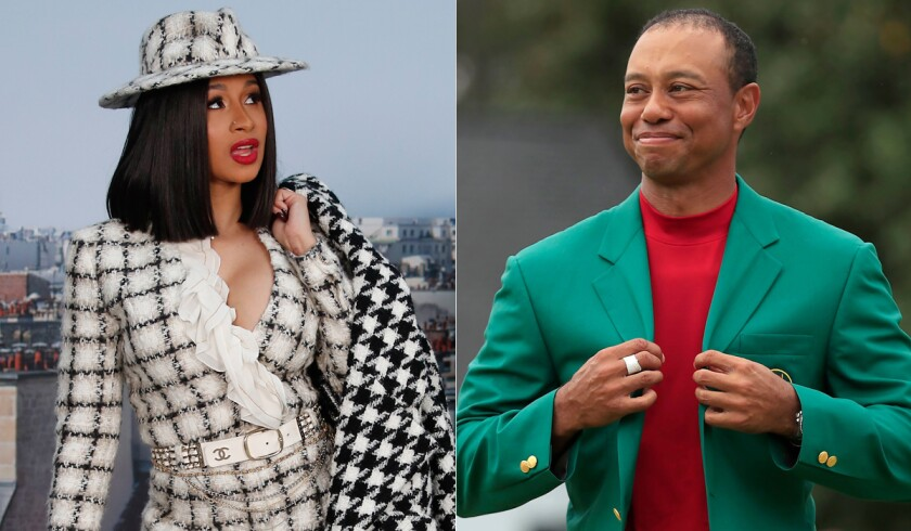 "Rapper Cardi B, left, says she was inspired to name her next album ""Tiger Woods"" after the golfer's Masters championship in May."