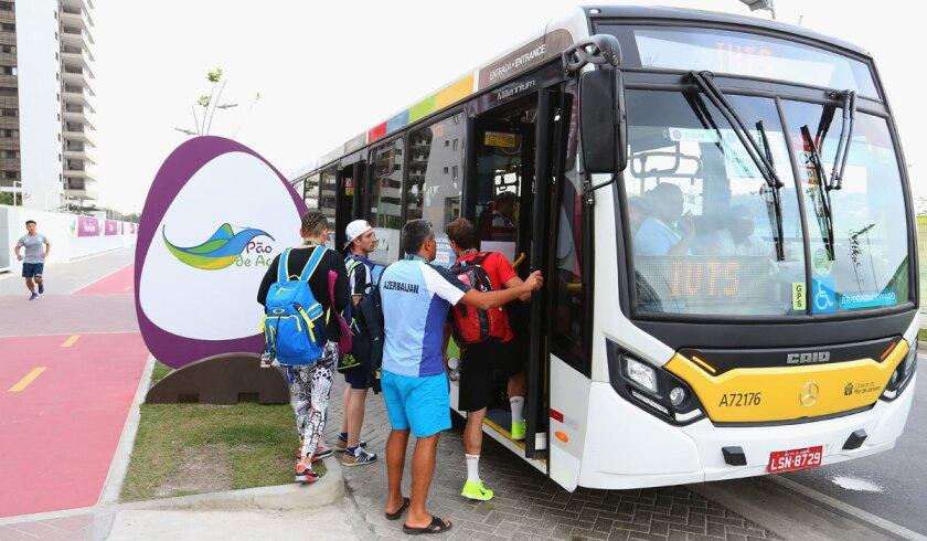 Athletes use public transport at the Olympic Village in the suburban Barra da Tijuca region of Rio de Janeiro.
