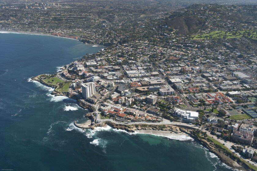 """An aerial photo of La Jolla from the book, """"La Jolla/92037."""""""