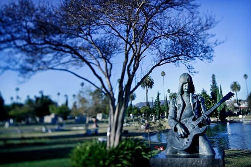 The memorial to Johnny Ramone at the Hollywood Forever Cemetery