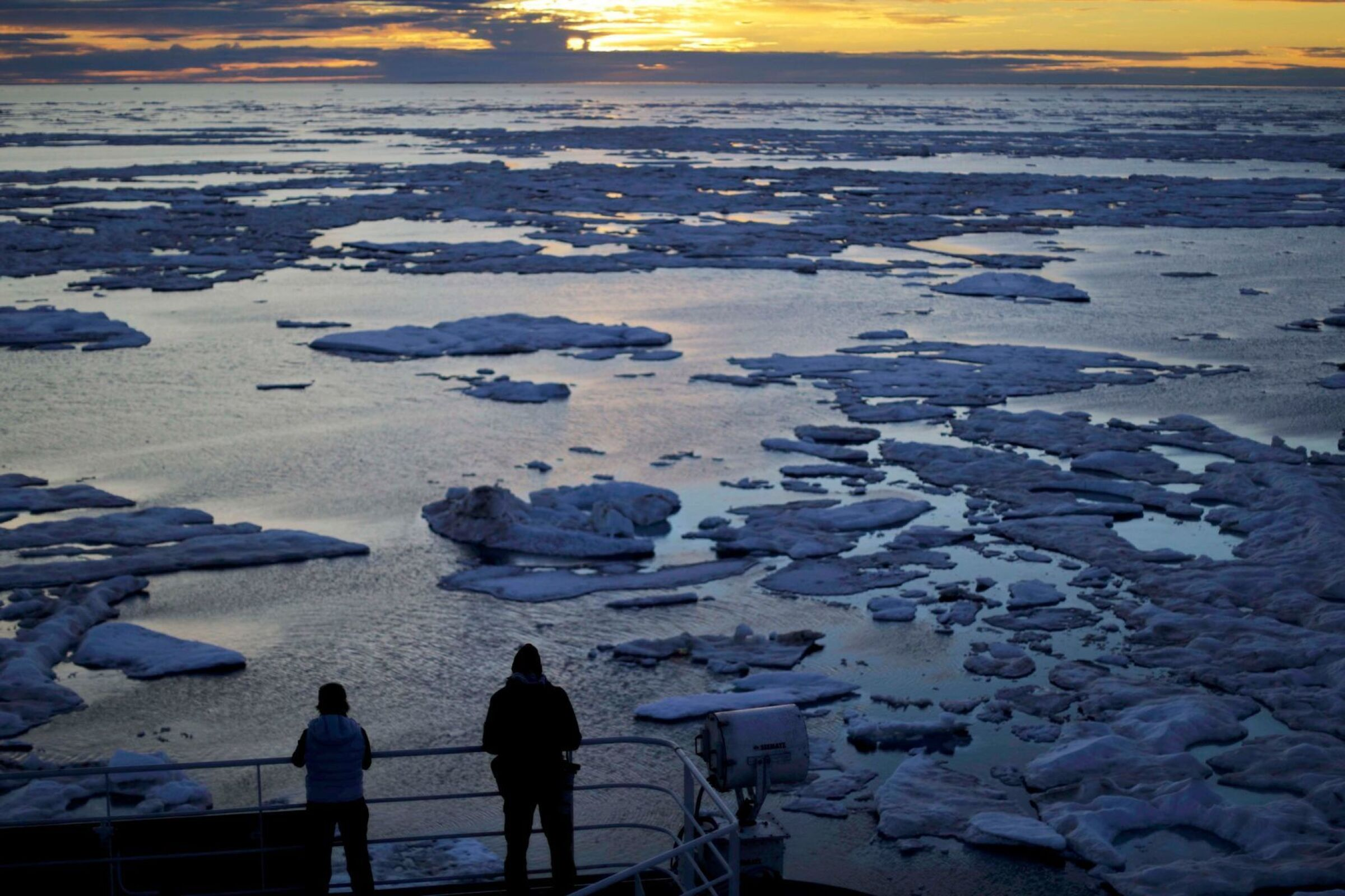 The view from an icebreaker in the Northwest Passage.