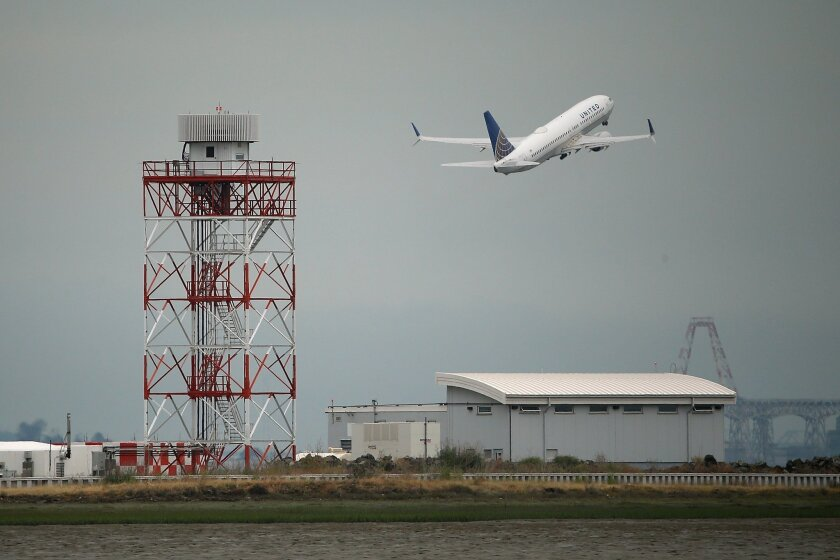 A United Airlines plane takes off from San Francisco International Airport. The carrier promises to beat its competitors in reliability.