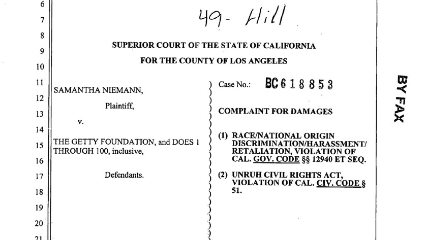 """The first page of the legal complaint """"Samantha Niemann v. The Getty Founda"""