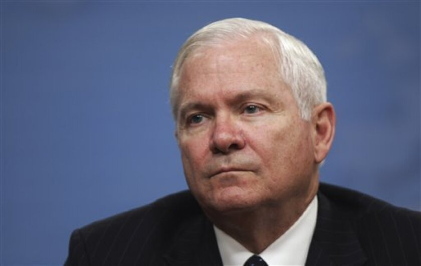 Defense Secretary Robert Gates holds a press briefing at the Pentagon in Washington, Tuesday, Dec. 2, 2008. Gates said that U.S. and British citizens were the targets of the violent siege in Mumbai, although most of those killed in the city, the nation's financial capital, were Indians. He also said Tuesday that the chairman of the Joint Chiefs of Staff, Adm. Mike Mullen, had gone to the region to meet with officials. (AP Photo/Lawrence Jackson)