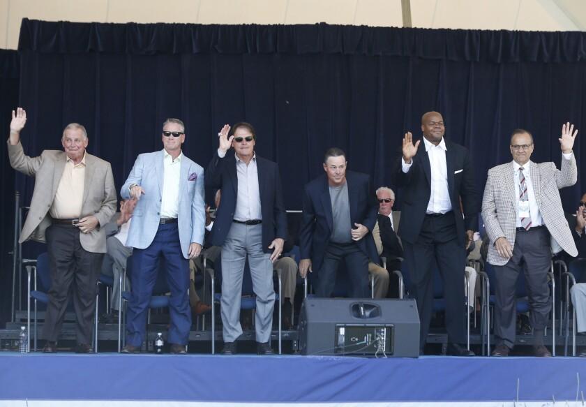 Bobby Cox,Tom Glavine,Tony La Russa,Greg Maddux,Frank Thomas,Joe Torre