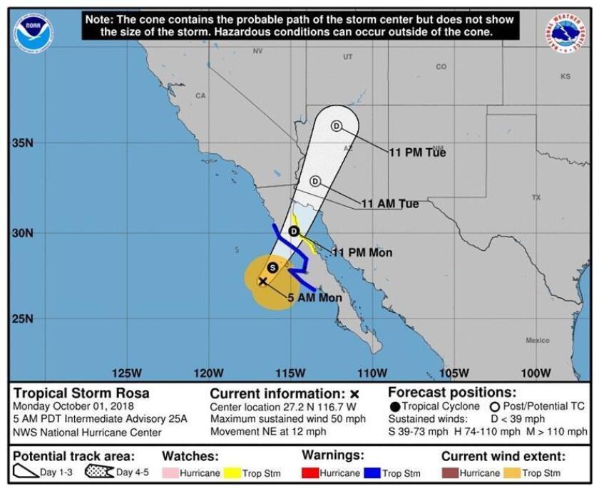 Imagen cedida hoy, lunes 1 de octubre de 2018, por el Centro Nacional de Huracanes (NHC) que muestra el pronóstico de cinco días de la tormenta tropical Rosa en su trayectoria en el pacífico hacia las costas mexicanas. EFE/NHC/SOLO USO EDITORIAL/NO VENTAS