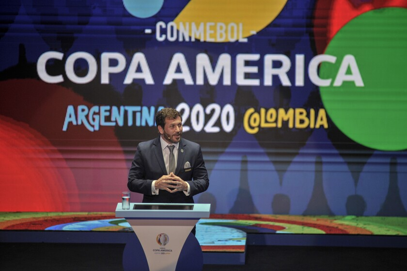 CARTAGENA, COLOMBIA - DECEMBER 03: President of CONMEBOL Alejandro Dominguez speaks during the draw for Copa America 2020 co-hosted by Argentina and Colombia at Centro de Convenciones de Cartagena de Indias on December 03, 2019 in Cartagena, Colombia. (Photo by Guillermo Legaria/Getty Images) ** OUTS - ELSENT, FPG, CM - OUTS * NM, PH, VA if sourced by CT, LA or MoD **