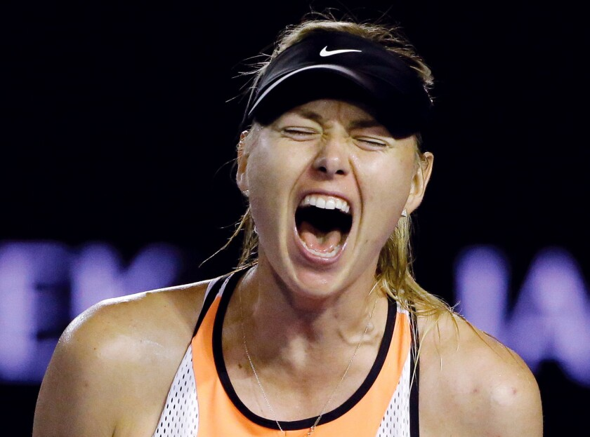Maria Sharapova celebrates after winning a point against Belinda Bencic during their fourth round match at the Australian Open.