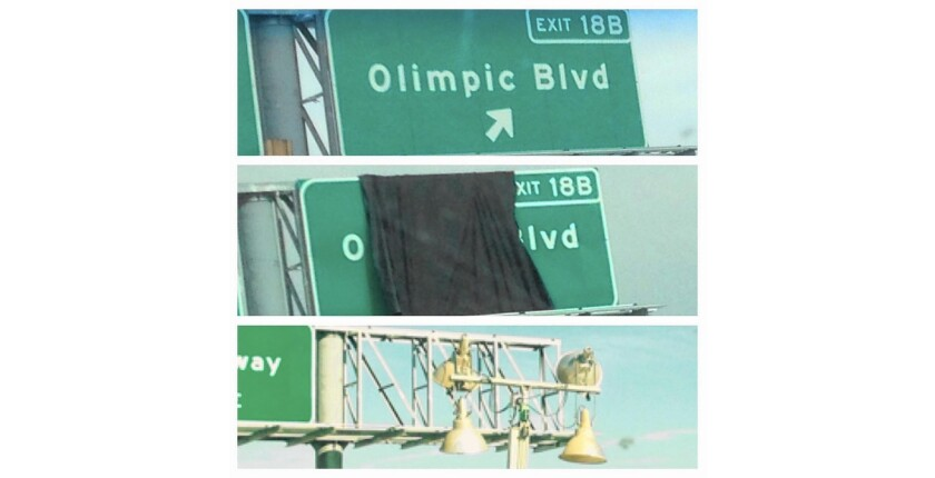 """Caltrans misspelled Olympic Boulevard as """"Olimpic"""" on an exit sign on the northbound 710 Freeway. It"""