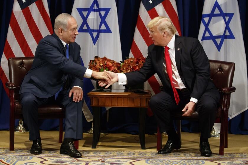 Benjamin Netanyahu, left, and Donald Trump