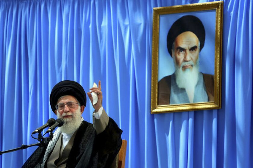 When Ayatollah Ali Khamenei speaks of the glory of resistance and America's dark plots, he is not seeking to mobilize some abstract constituency but expressing his genuine worldview. Above: Khamenei delivers a speech in a ceremony marking the anniversary of the death of the late revolutionary founder Ayatollah Khomeini, shown in the picture in the background.