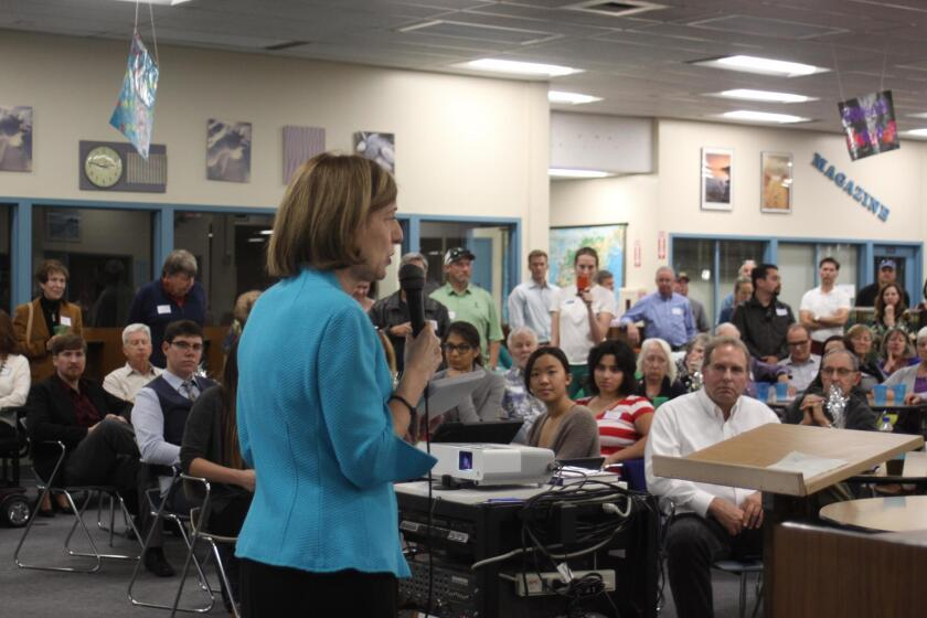 New San Diego City Council member Barbara Bry addresses District 1 constituents in the Media Center at University City High School, Jan. 8, 2017.