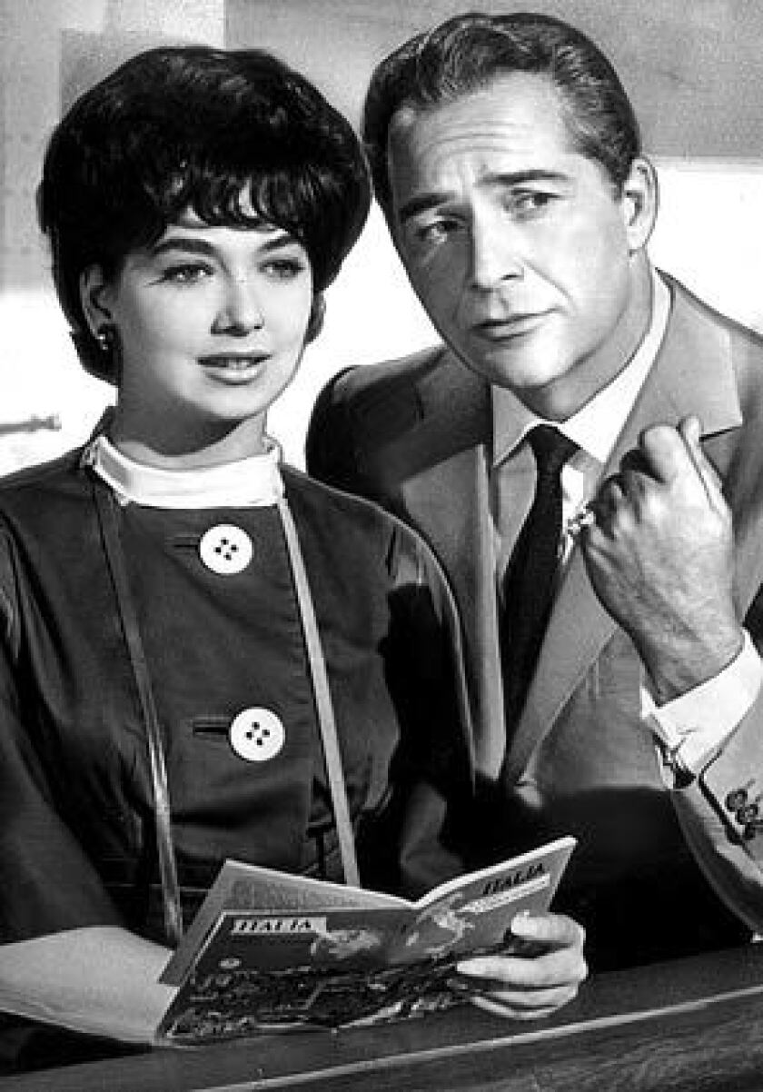 """Suzanne Pleshette with Roberto Orlandi in the 1962 romantic drama """"Rome Adventure,"""" one of two films in which she appeared with Troy Donahue, to whom she was married for eight months in 1964."""