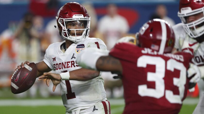 Oklahoma quarterback Kyler Murray (1) looks to pass, during the second half of the Orange Bowl NCAA college football game against Alabama, Saturday, Dec. 29, 2018, in Miami Gardens, Fla.