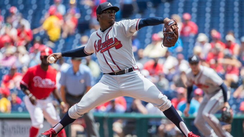 Atlanta Braves starting pitcher Tyrell Jenkins throws a pitch during the first inning of a baseball game against the Atlanta Braves, Wednesday, July 6, 2016, in Philadelphia. The Phillies won 4-3.