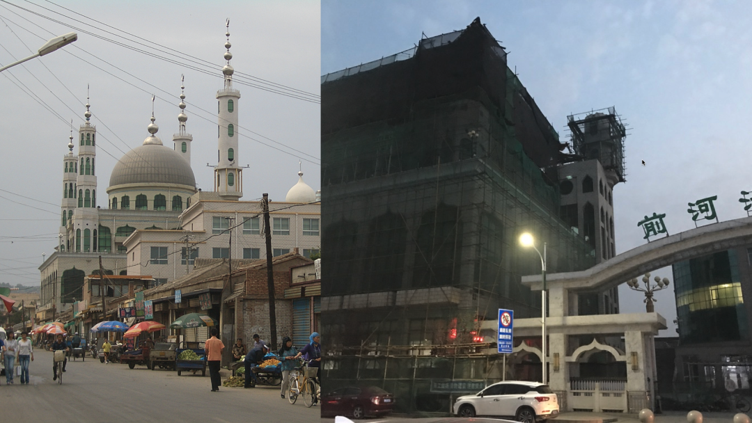 Qianheyan Mosque in Linxia, Gansu province, China, in 2009 (L) and on Nov. 13, 2020 (R).