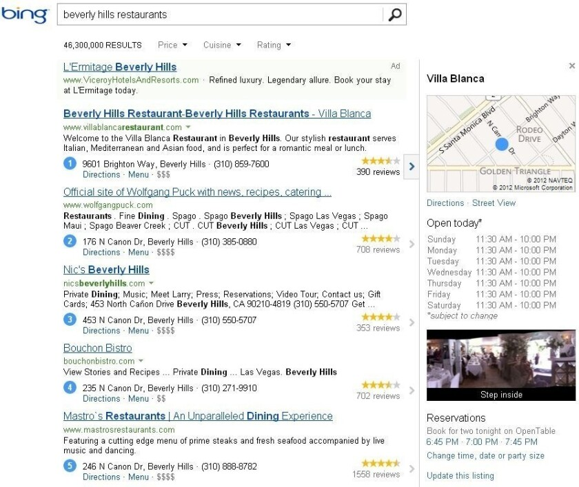 Screenshot of Bing's search results featuring Yelp content.