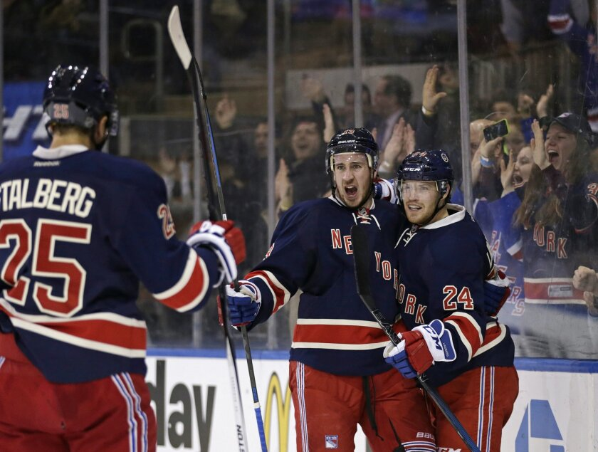 New York Rangers right wing Kevin Hayes celebrates with Oscar Lindberg (24) and Viktor Stalberg (25) after scoring a goal against the Chicago Blackhawks during the second period of an NHL hockey game Wednesday, Feb. 17, 2016, in New York. (AP Photo/Adam Hunger)