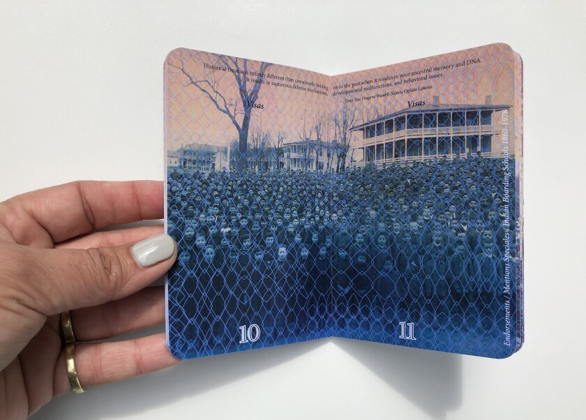 In Castillo's artwork, the image of a school for Native American children gets overlaid with a chain-link fence pattern that emulates the moire print on real passport pages.