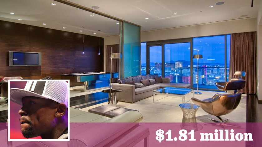 Floyd Mayweather Jr.'s penthouse has a game/billiards room, a chef's kitchen and an infinity-edge spa.