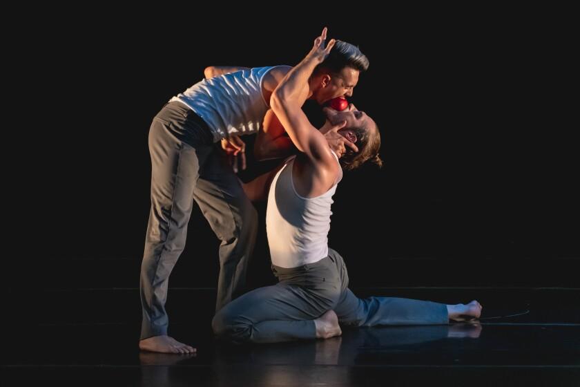 """Spencer Jensen, left, and Luke Dakota Zender in Invertigo Dance Theatre's """"Formulae & Fairy Tales."""""""