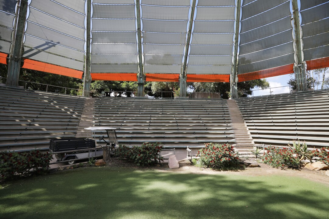 Benbough Amphitheater, which hosts the Frequent Flyers Bird Show, sits empty on May 19, 2020, at the San Diego Zoo Safari Park.