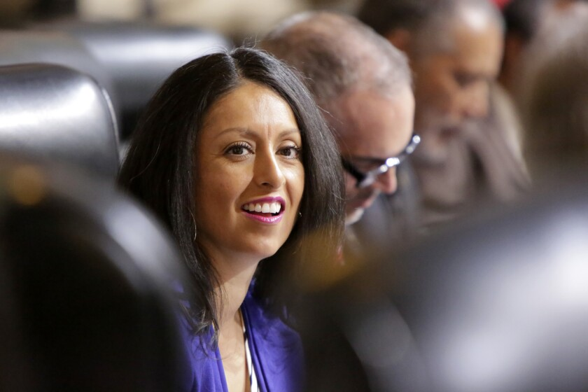 Los Angeles City Council member Nury Martinez, who represents the central San Fernando Valley, is shown during a city council session in September.