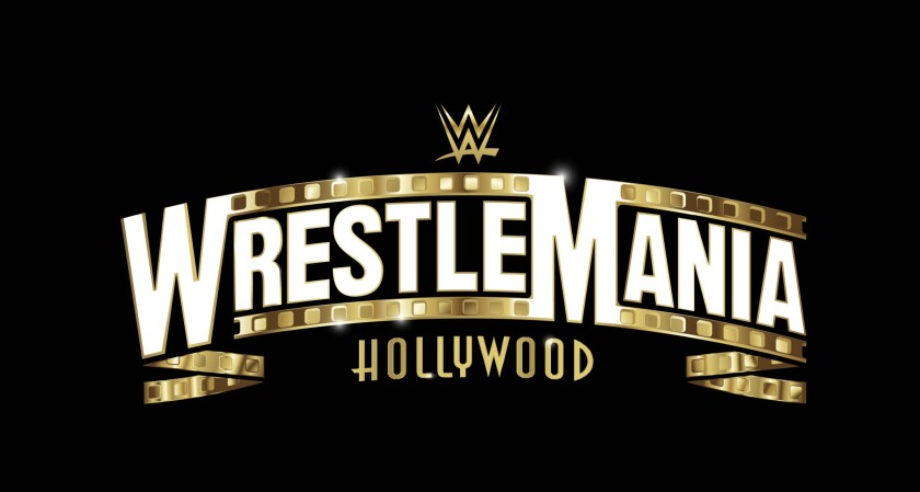The logo for WrestleMania 37, which will take place at SoFi Stadium in Inglewood in March 2021.