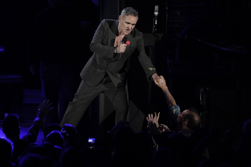 Morrissey performs at the Hollywood Bowl during a 2017 concert.