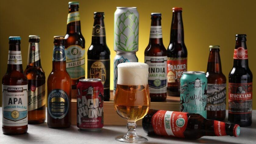 A selection of some of the 30 store-brand beers from Aldi, Trader Joe's and Costco assembled for the tasting. Several would make solid choices for Super Bowl watch parties, at good prices, most about 6 bucks per six-pack.