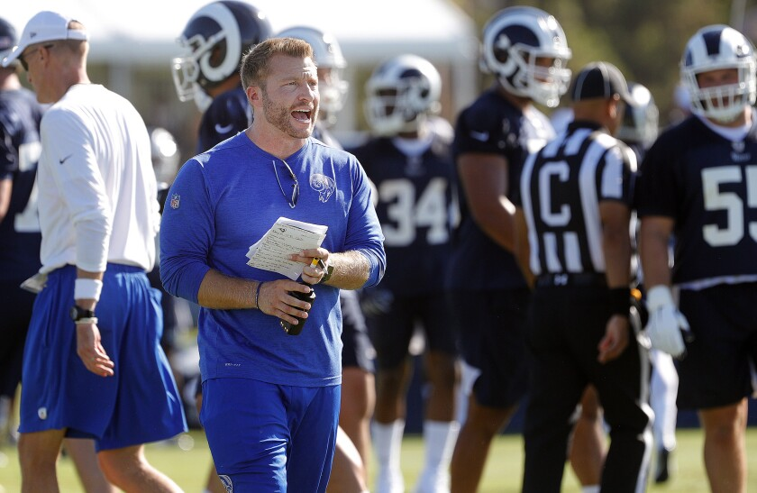 Rams coach Sean McVay instructs players during a team training camp session Aug. 5.